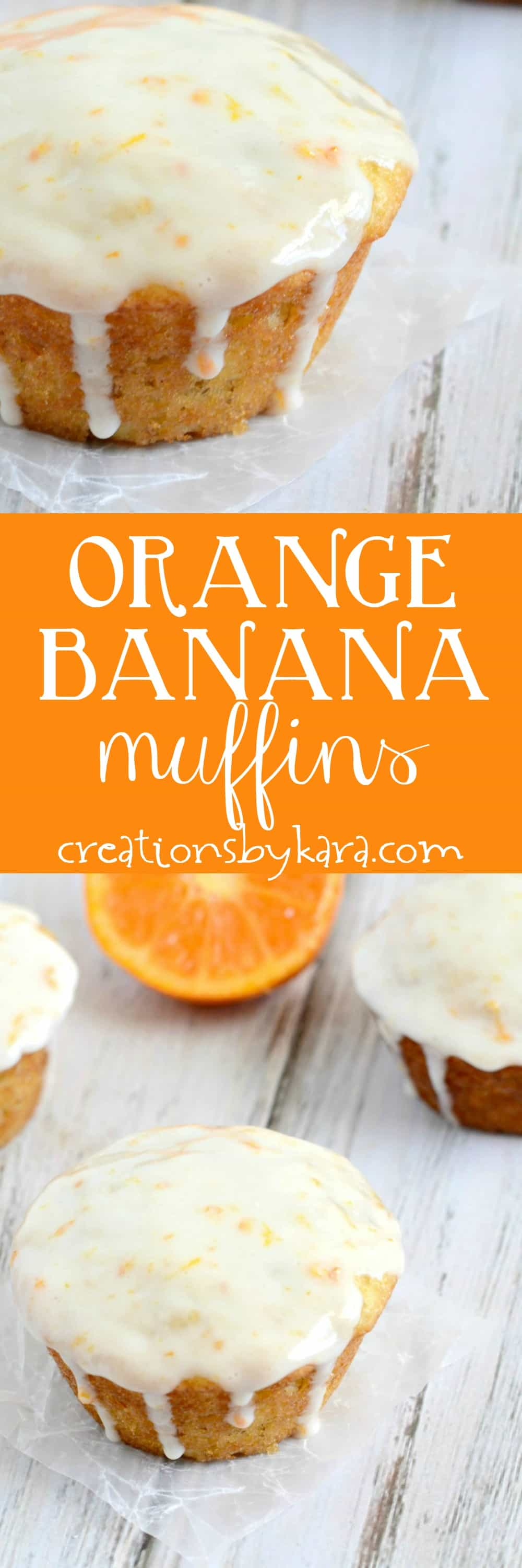 Orange Banana Muffins with Sour Cream Glaze - these banana muffins are far from boring! You will love this muffin recipe.