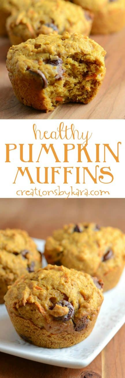 Healthy Pumpkin Muffins made with honey, whole wheat, and grated carrots. So yummy!