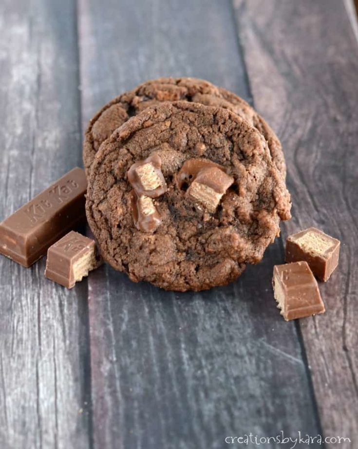 Chocolate Kit Kat Cookies are a great way to get your chocolate fix! A unique and yummy cookie recipe!