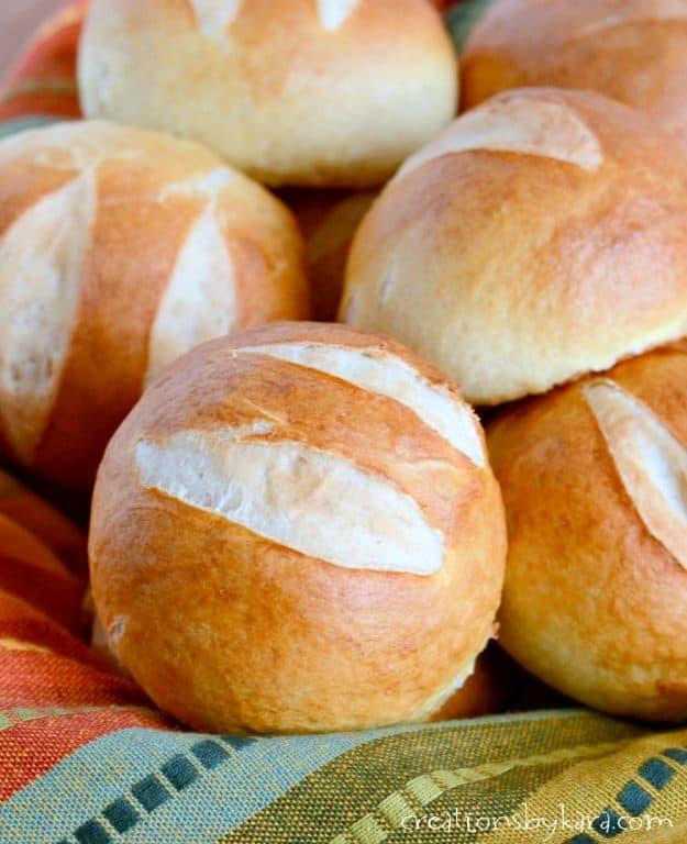 close up of pretzel roll