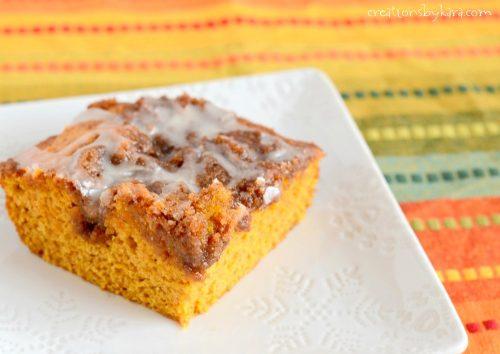 Ooey gooey pumpkin cinnamon roll cake - a perfect way to enjoy pumpkin spice season!
