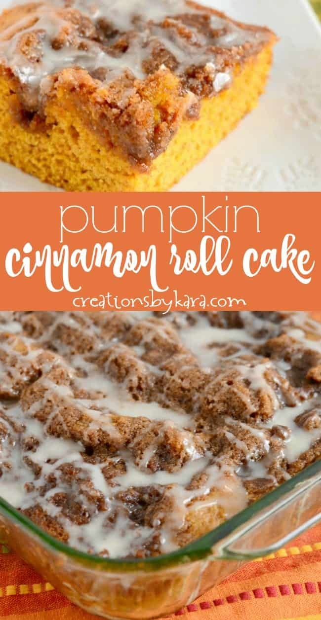 recipe collage for pumpkin cinnamon roll cake