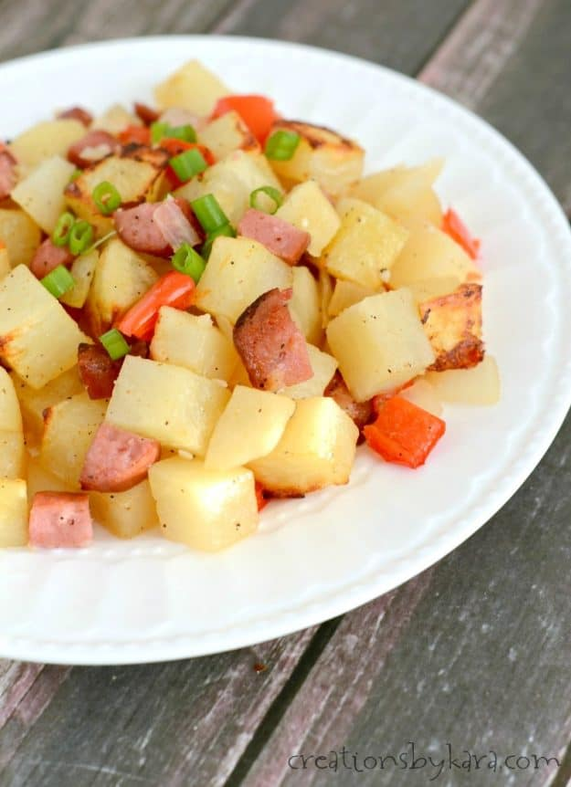 One pan Sausage Potato Bake makes a simple and delicious dinner! Everyone will love this recipe!