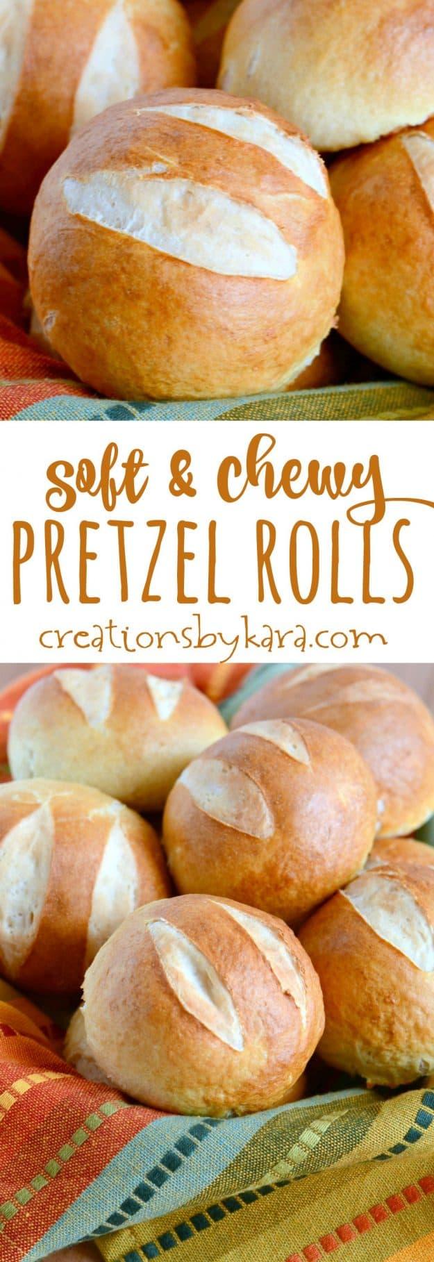 Chewy pretzel rolls recipe collage