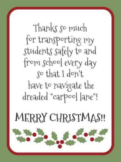 Christmas gift for bus driver - free printable