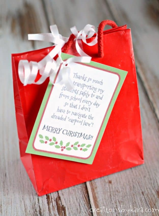 Christmas gift idea for bus driver with free printable Christmas gift tag