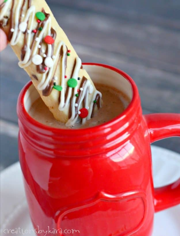 Chocolate Chip Cookie Sticks dipped in hot cocoa