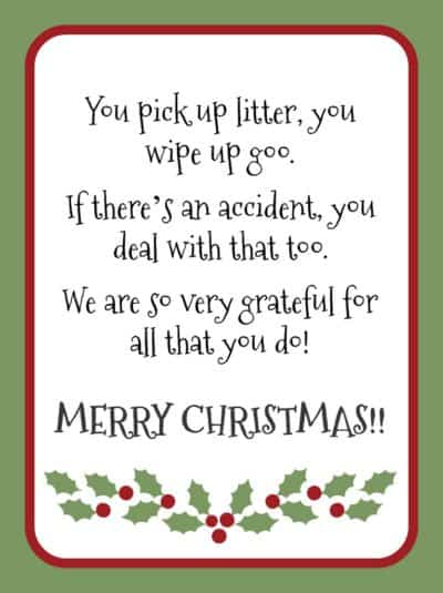 printable Christmas gift card for custodian