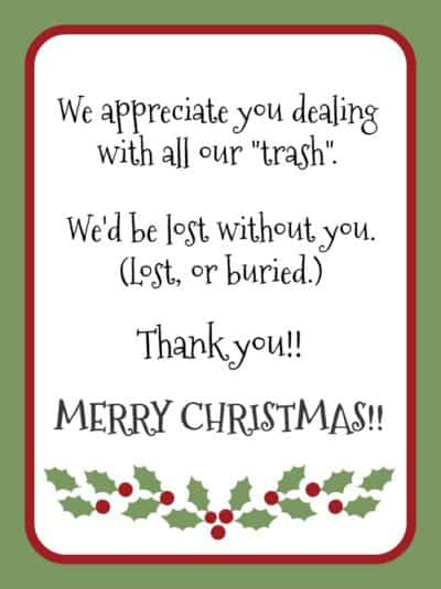 Christmas gift tag for garbage collector