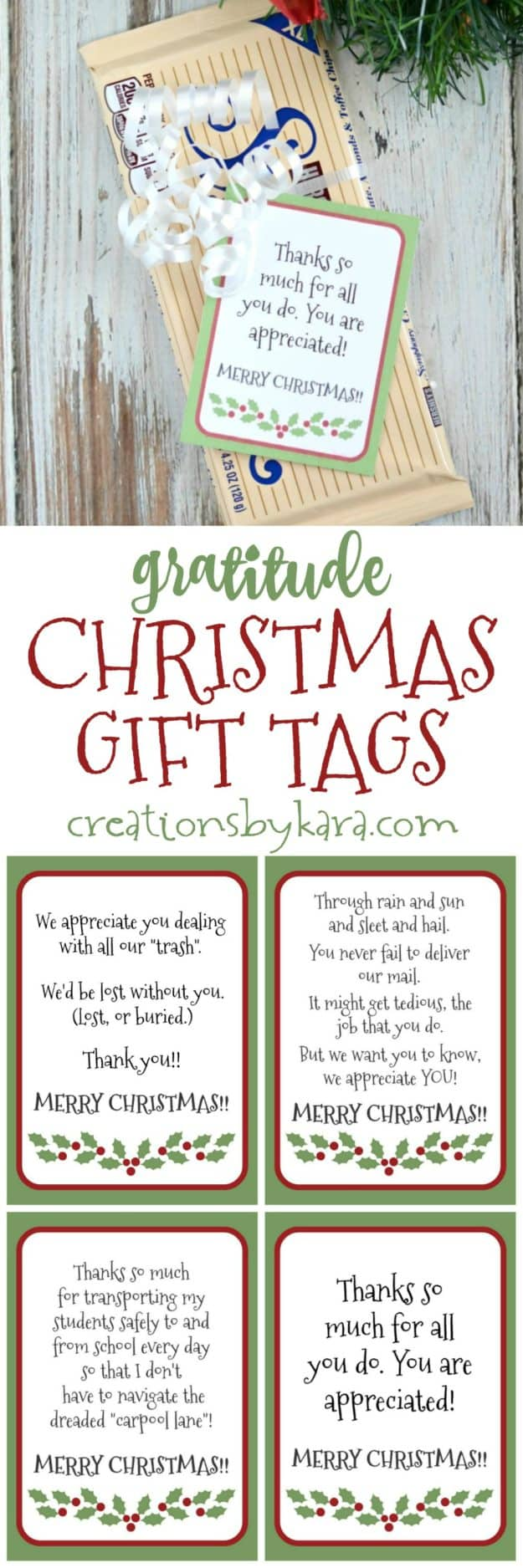 Free printable gratitude Christmas gift tags  collage