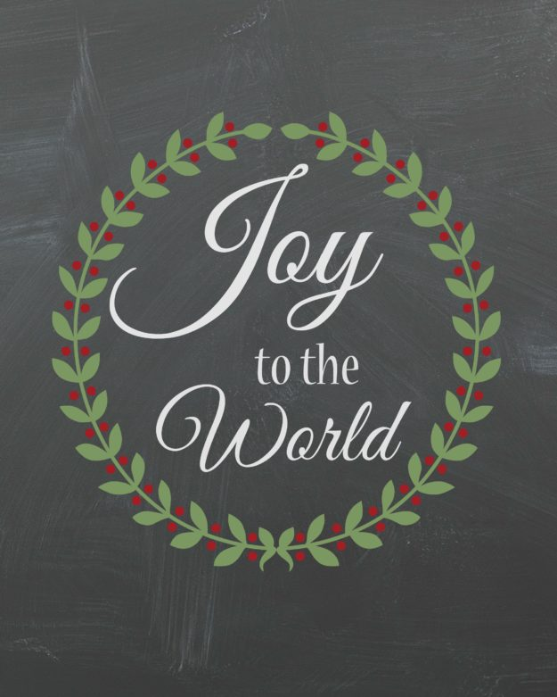 8 x10 inch joy to the world chalkboard print