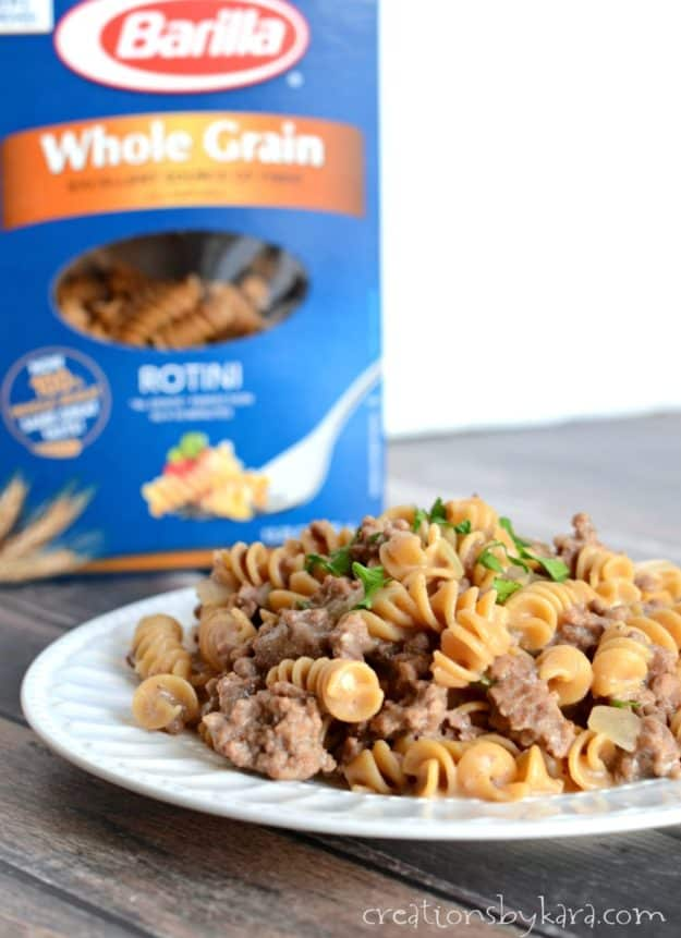 This recipe for Beef Stroganoff is made in one pot! It is so easy and delicious it is sure to become a family favorite pasta recipe!