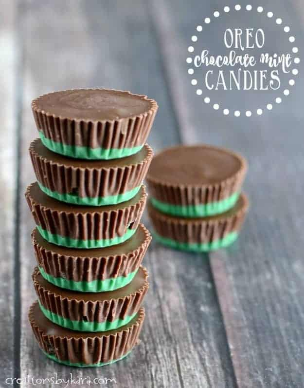 stack of oreo chocolate mint candies