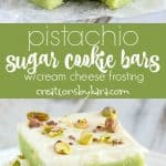 Pistachio sugar cookie bars recipe collage