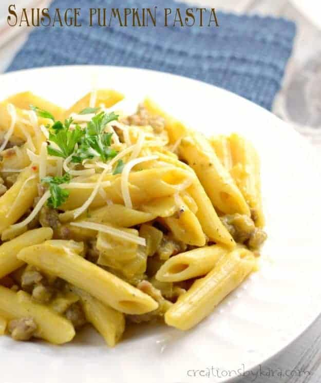 This savory Sausage Pumpkin Pasta is packed with flavor. A perfect fall dinner recipe that is easy to make.