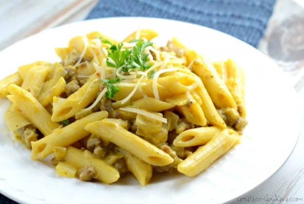 Recipe for Pumpkin Pasta with sausage. An easy and flavorful dinner recipe. Perfect for hectic fall dinners!