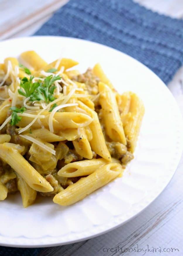 This savory Pumpkin Pasta is so easy to make and so delicious!