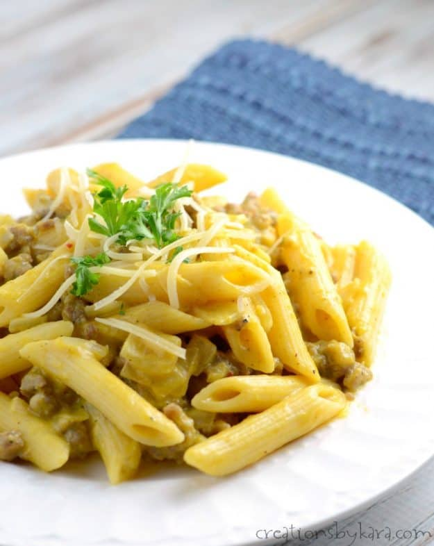 Recipe for Pumpkin Pasta with Sausage. An easy pasta recipe that is perfect for fall.