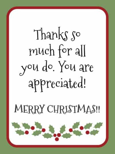 Free printable gratitude christmas gift tags light the Thanks for all you do gifts