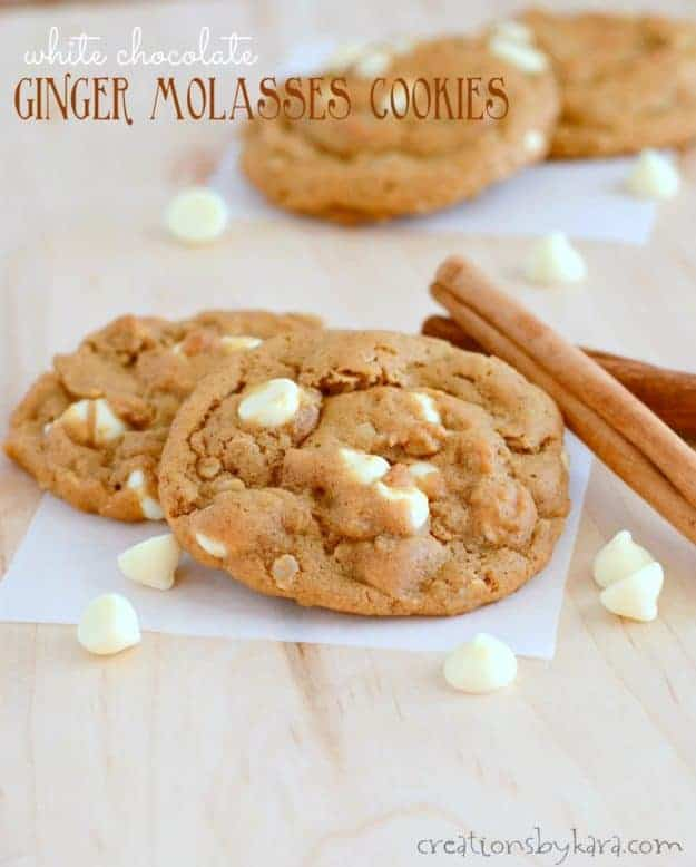 These White Chocolate Ginger Molasses Cookies are perfectly spiced, soft, chewy, and delicious. A perfect holiday cookie recipe!