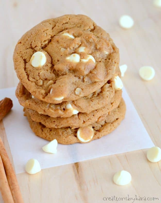 stack of molasses cookies with white chocolate chips