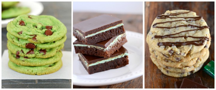 collage of chocolate mint recipes