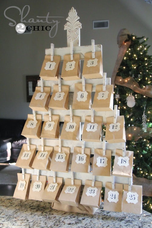 diy wood tree advent