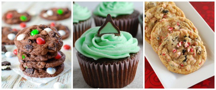 collage of mint cookies and cupcakes