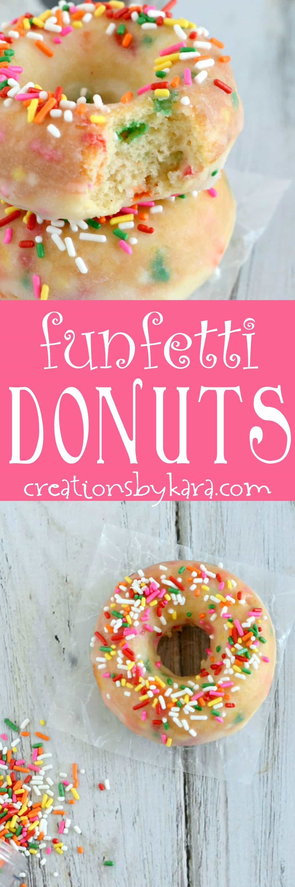 Recipe for baked funfetti donuts. These fun donuts are a favorite with kids and adults alike. A great donut recipe. #bakeddonuts #donutrecipe #funfetti