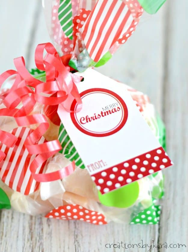 bag of goodies with a red christmas tag