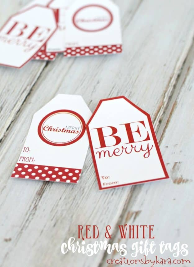 Free printable red and white Christmas gift tags. Pretty gift tags for your christmas wrapping.
