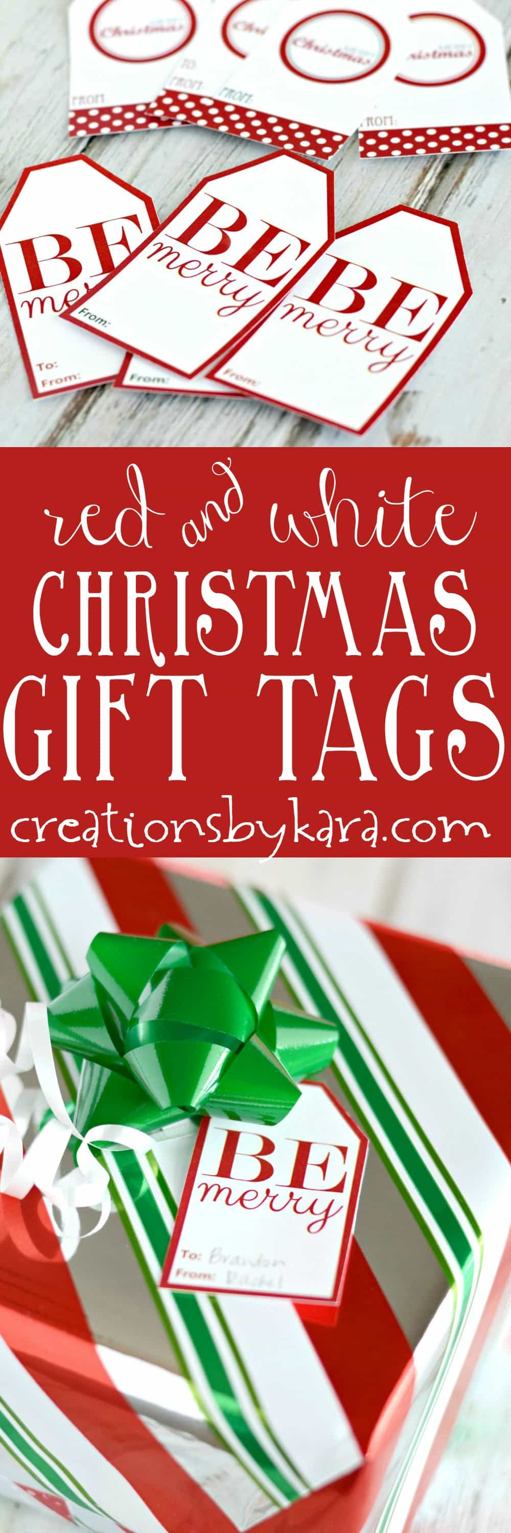 Free printable red and white Christmas gift tags. Add these pretty gift tags to your Christmas packages.