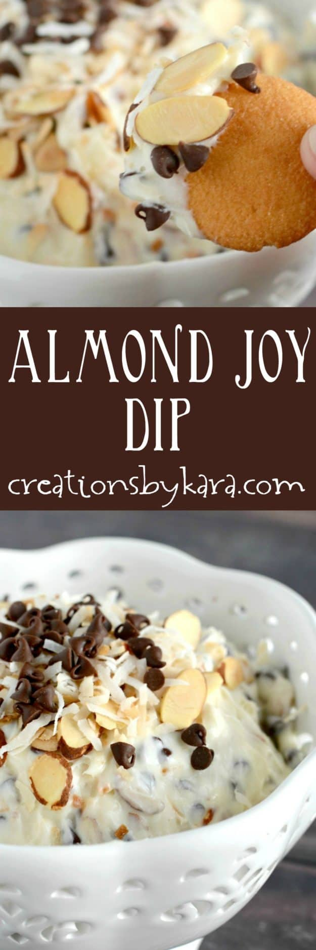Sweet and creamy Almond Joy Dip recipe. This almond coconut dip is perfect with fruit, pretzels, or crackers. A tasty dip recipe that everyone will love!