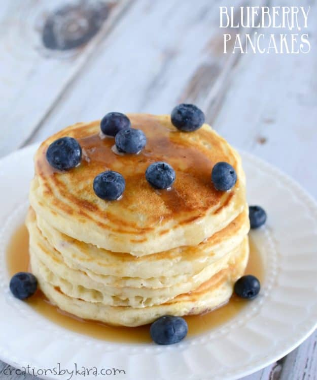 From scratch Blueberry Pancakes - you can have scrumptious pancakes in just minutes with this blueberry pancake recipe.