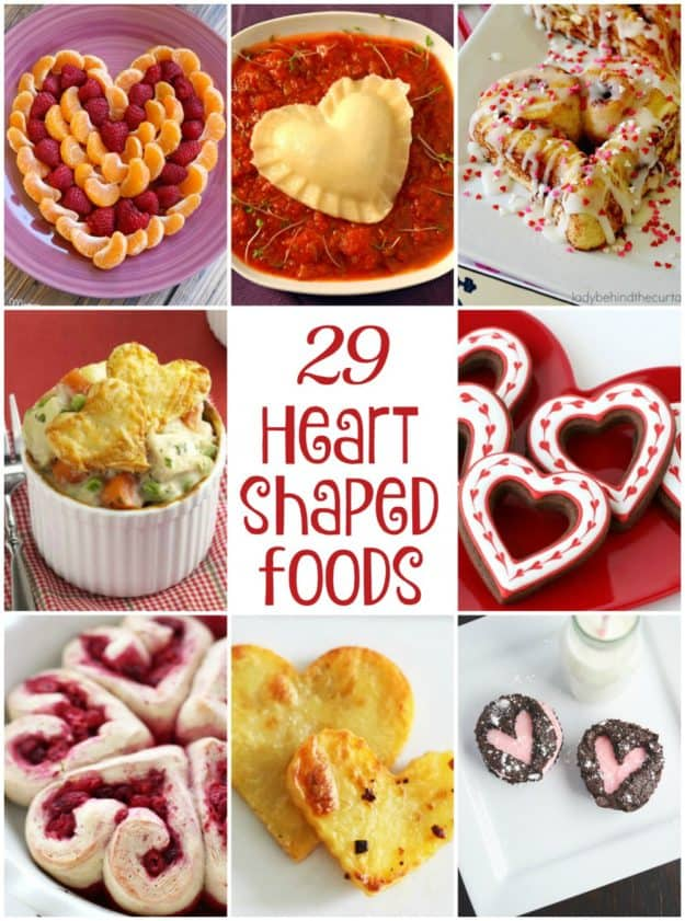 picture collage of heart shaped foods for Valentine's Day