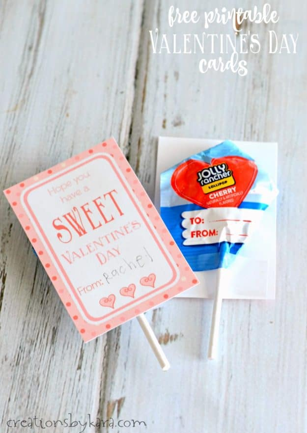 sweet valentines day card with a sucker attached