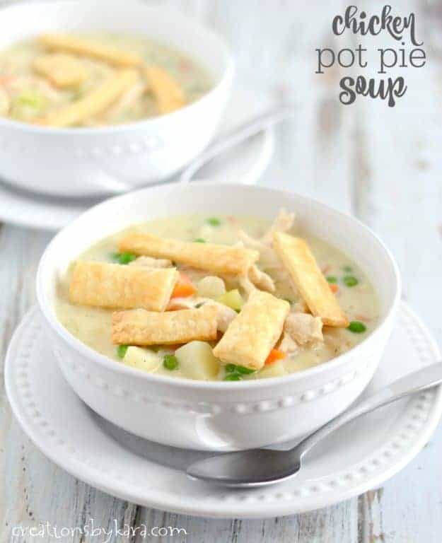 Chicken Pot Pie Soup - hearty and flavorful, this chicken soup is a perfect dinner on chilly nights. Serve this tasty chicken soup and get rave reviews from the whole family!