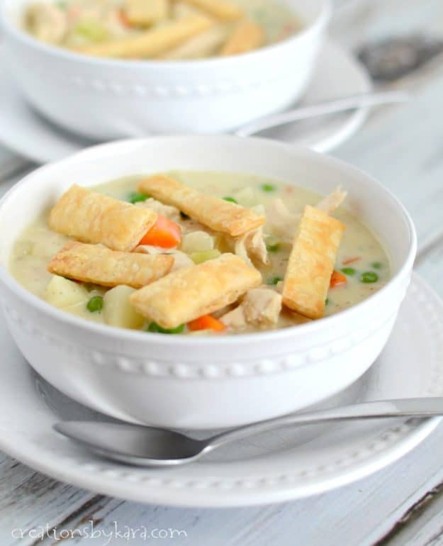 Recipe for Chicken Pot Pie Soup. This is a yummy copycat recipe of the soup at Disneyland's Pacific Wharf. A hearty and comforting soup recipe.