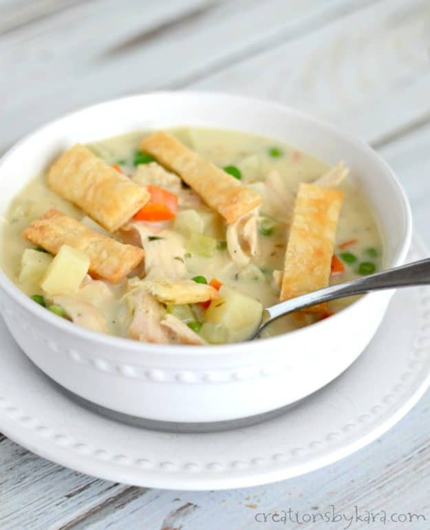 Every bite of this Chicken Pot Pie Soup is scrumptious. You might just want to lick your bowl. A perfect hearty and comforting soup recipe.