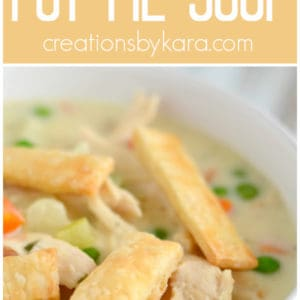 chicken pot pie soup recipe collage