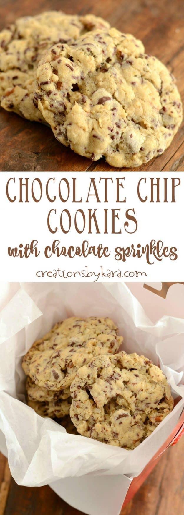 Yummy chocolate chip cookies with chocolate sprinkles. A fun ingredient makes these chocolate chip cookies extra special.