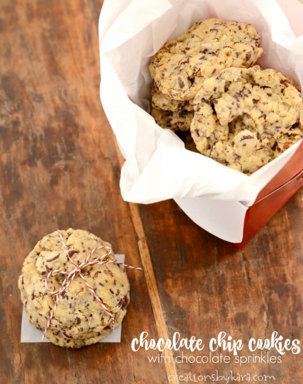 Chocolate Chip Cookies with chocolate sprinkles. And easy and yummy recipe for chocolate chip cookies with a little extra pizzazz.