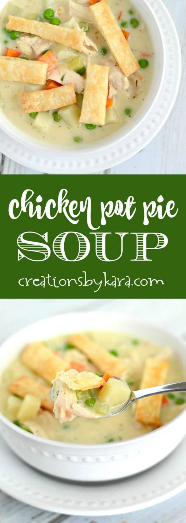 chicken pot pie soup long collage