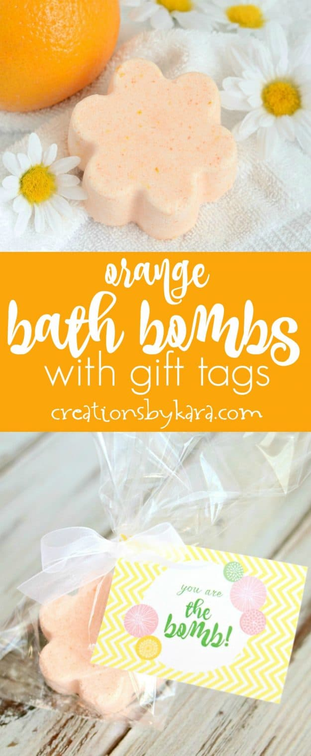 Orange Bath Bombs with free printable gift tags -collage