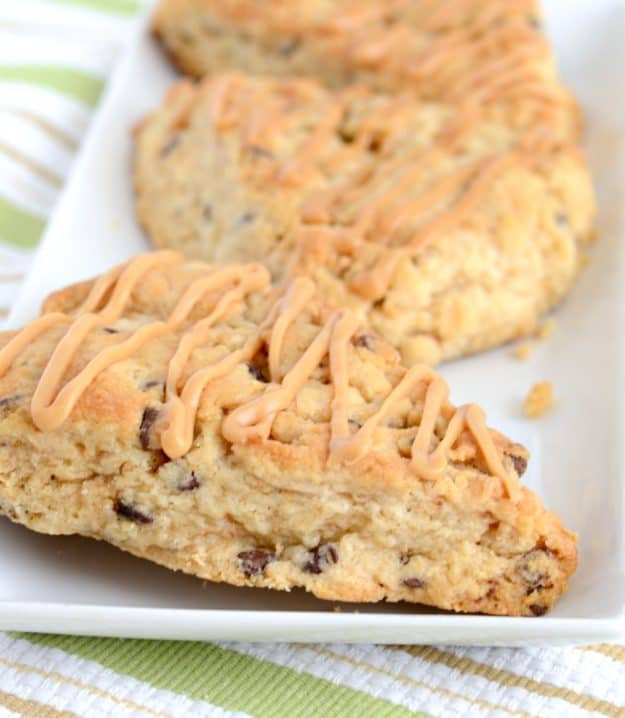 My family went crazy for these peanut butter scones. With chocolate chips and peanut butter glaze, they are irresistible!