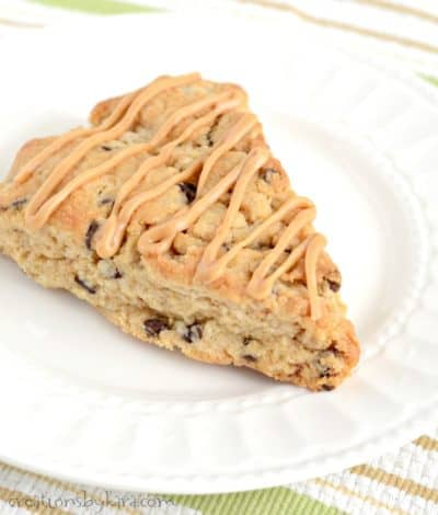 Recipe for peanut butter chocolate chip scones. A tasty scone recipe that peanut butter fans will love.