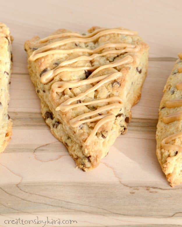 Soft, tender, and packed with chocolate chips, these scones are incredible. The peanut butter glaze makes them extra tasty. A great scone recipe.