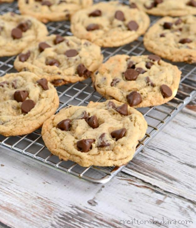 banana chocolate chip cookies on a cooling rack