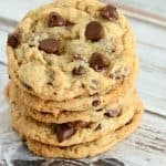 Soft and chewy banana chocolate chip cookies. A yummy way to use overripe bananas!