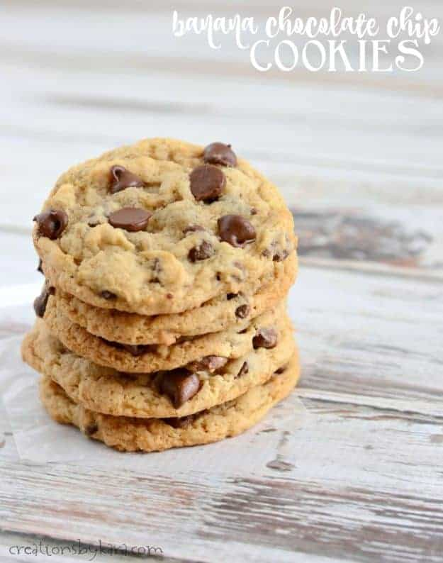 Banana Chocolate Chip Cookies - a perfect recipe for using overripe bananas!
